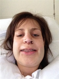 Kristin, a selfie after surgery